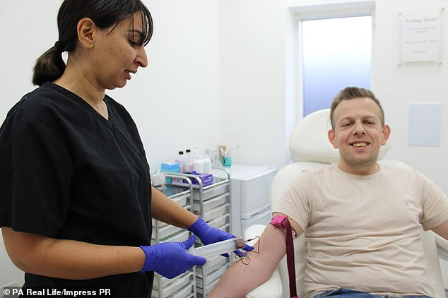 Mr Croxton, pictured receiving the P-shot from Dr Shirin Lakhani, was keen to try the possibly life-changing treatment after hearing about it from a friend