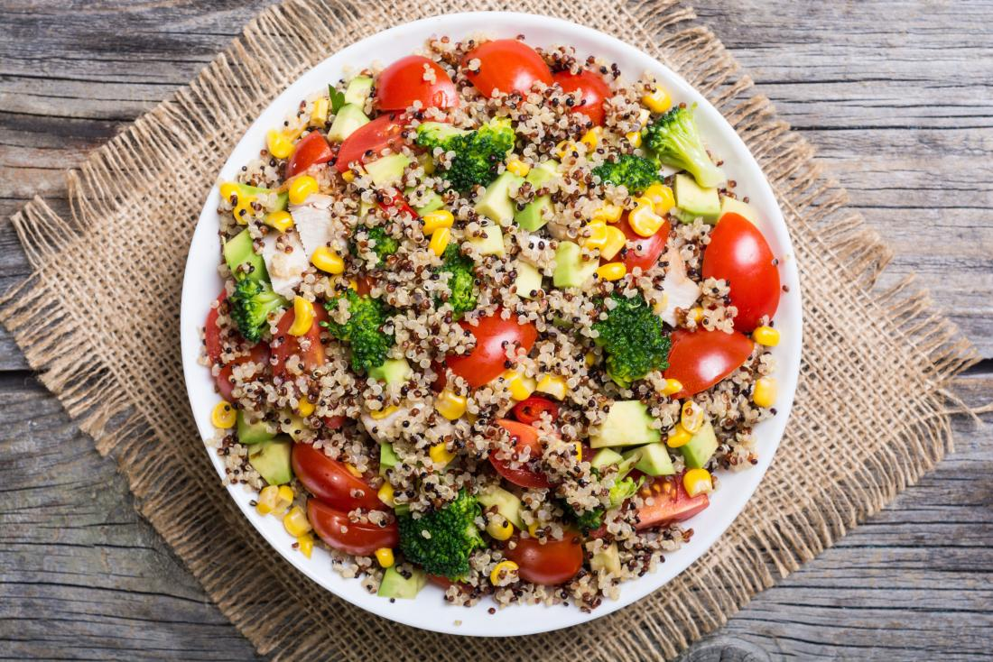 Quinoa salad with tomatoes and broccoli and sweetcorn