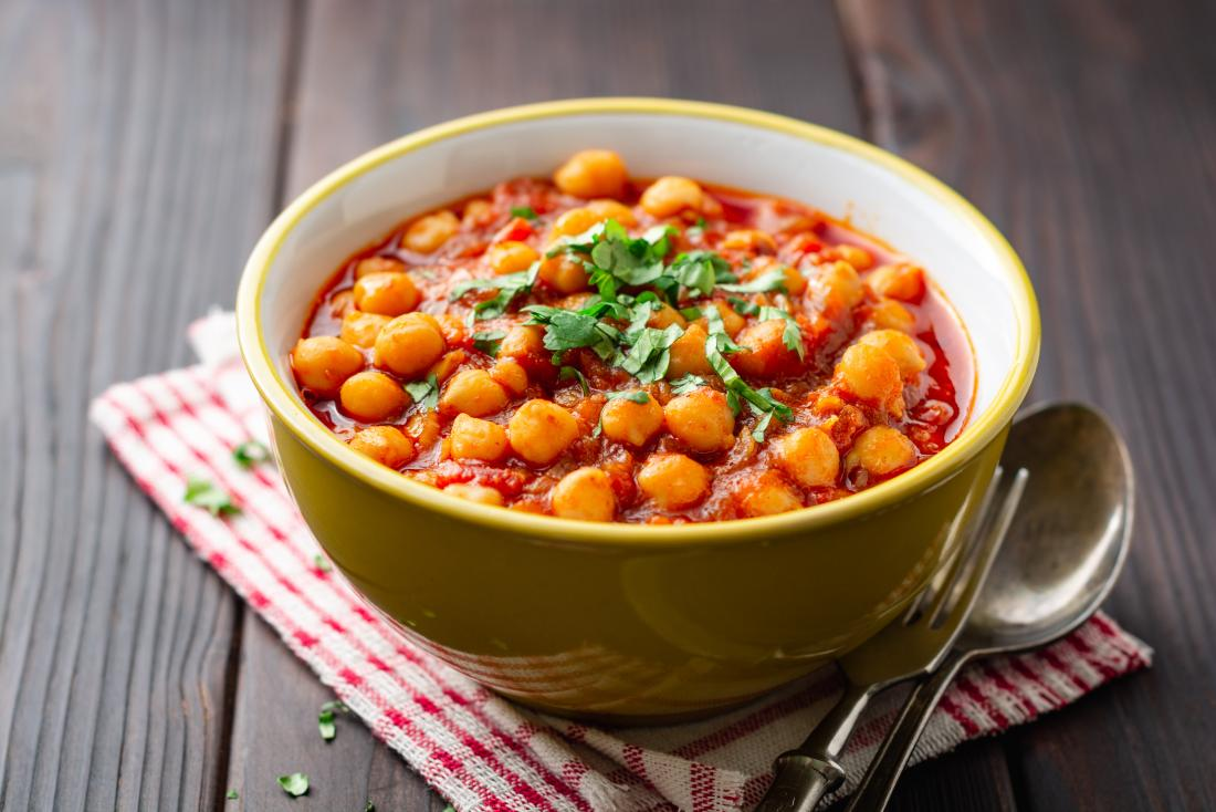 Indian diet meal option consisting of a bowl of chickpea curry.