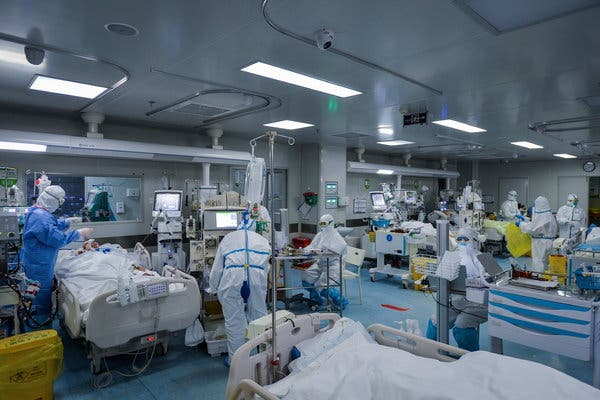 An intensive care unit dedicated to treating coronavirus patients in Wuhan, China. Experts say the U.S. would experience significant shortages of medical supplies in plausible worst-case-scenarios.