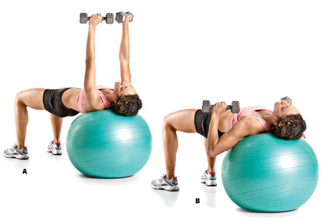 Stability Ball Dumbbell Presses