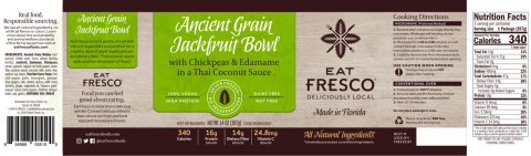 Ancient Grain Jackfruit Bowl label with nutrition facts